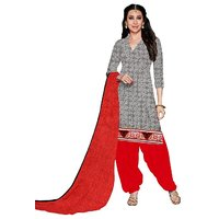 Florence Grey  Red Cotton Printed Suit (SB-2806)
