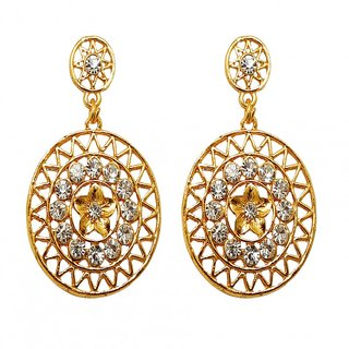 Kriaa Gold Plated Gold Gold Dangle Earrings for Women