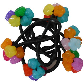 Adbeni Black Nylon Coated With Plastic Flowers  Hair Rubber Bands Good Choice