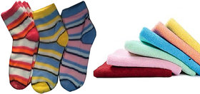 3 Ladies Socks + 3 Ladies Face Towel