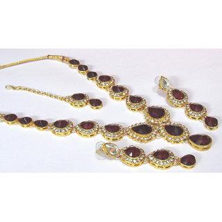 Maroon tilak stone necklace set