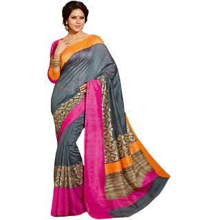 SuratTex Multicolor Silk Printed Saree With Blouse