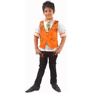 FLYING KIDS- Party Wear Orange Half Jacket Set
