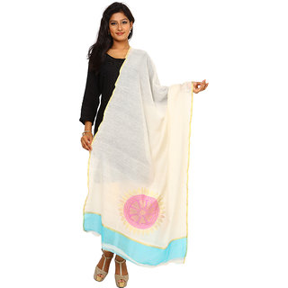 Kataan Bazaar Ghost White Cotton Silk Dupatta