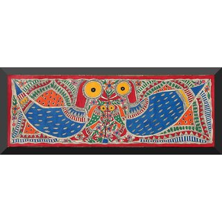 Aritra Madhubani Painting  Peacock And Parrot
