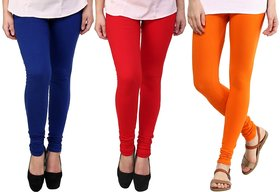 Stylobby Blue, Red And Orange Kids Legging Pack Of 3