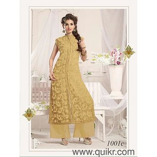 Trendz Apparels gold 60 gm Georgette Straight Cut Salwar Suit (Unstitched)