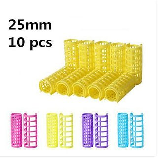 10 PCs Plastic Hair Curlers, Rollers and Hair Stylers - Large (25 mm)