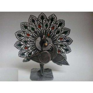 Silver Color Metal Peacock - Special Showpiece