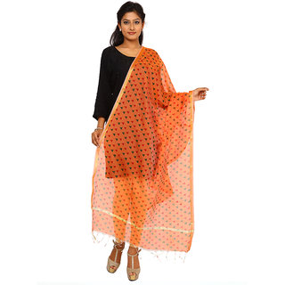 Kataan Bazaar Orange Cotton Silk Dupatta