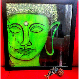 The Green Lord Buddha Canvas Painting