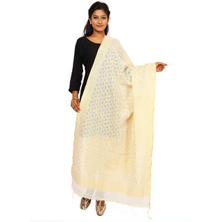 Kataan Bazaar Ghost White Cotton Jute Dupatta