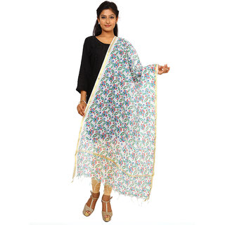 Kataan Bazaar White Cotton Silk Dupatta
