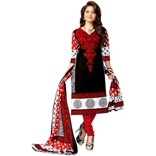Drapes Black and White Embroidered Cotton Salwar Suit Material (Unstitched)