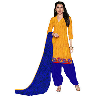 Florence Yellow  Blue Cotton Printed Suit (SB-2799)