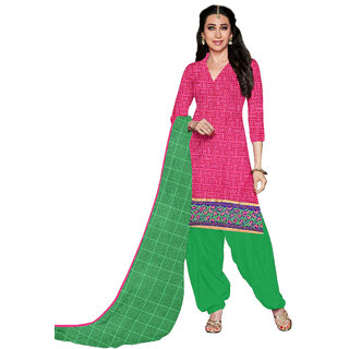 Florence Pink  Green Cotton Printed Suit (SB-2804)