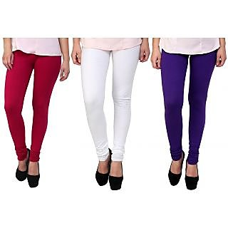 Stylobby Pink, White And Purple Kids Legging Pack Of 3