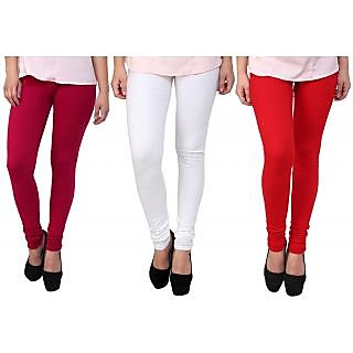 Stylobby Pink, White And Red Kids Legging Pack Of 3