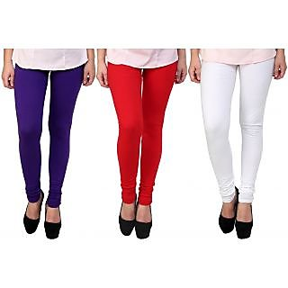 Stylobby Purple, Red And White Kids Legging Pack Of 3