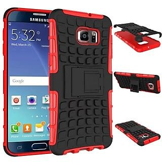 Feomy Kick Stand Armor Hybrid Bumper Cover For Samsung Galaxy Note 5 Edge -Red