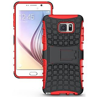 Feomy Kick Stand Armor Hybrid Bumper Cover For Samsung Galaxy Note 5 -Red