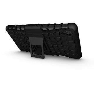 Feomy Kick Stand Armor Hybrid Bumper Cover For Sony Xperia Z3 -Black