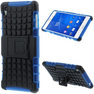 Feomy Kick Stand Armor Hybrid Bumper Cover For Sony Xperia Z3 -Blue