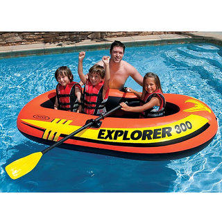 Intex Explorer 300- 3 Person Rafting Set, French Oars And Mini Air Pump Set