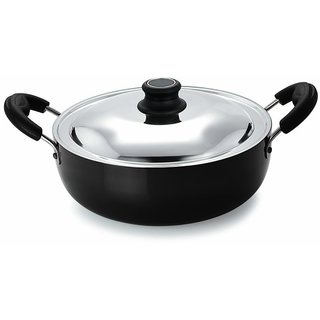 Pristine Induction Base Hard Anodised Kadhai with Lid, 22cm / 2Ltrs
