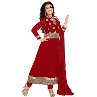 Varanga Red Faux georgette anarkali semi stitched salwar suits ASH11001A