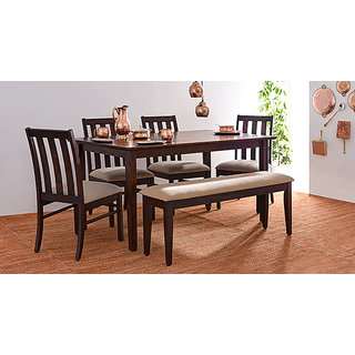 buy deluca 6 seater with bench dining table set online get 0 off