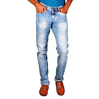 Mens Relaxed Tapered Dark Ruffle Used Wash Jeans for Mens (FJ-1864 Lt Blue)