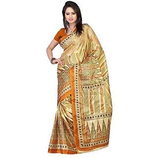 Kajal Sarees Brown Chiffon Printed Saree With Blouse