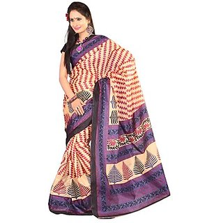 Kajal Sarees Purple Chiffon Printed Saree With Blouse