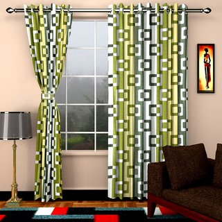 Home Castle Polyester Floral Multicolor Cotton Door Stitch Semi Transparent Curtain Feet For Bed Room (Combo Of 2)