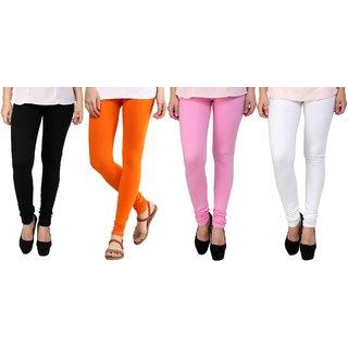 KriSo Black, Orange, Baby Pink And White Kids Legging Pack Of 4