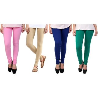 Stylobby Baby Pink, Beige, Blue And Green Kids Legging Pack Of 4