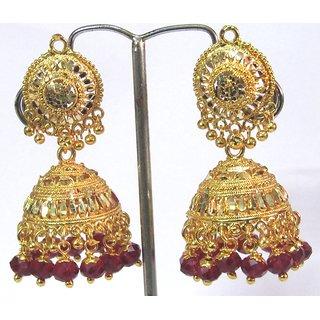 Golden Round Maroon Drop Wedding Jhumka Earring