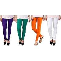 Stylobby Purple, Green, Orange And White Kids Legging Pack Of 4