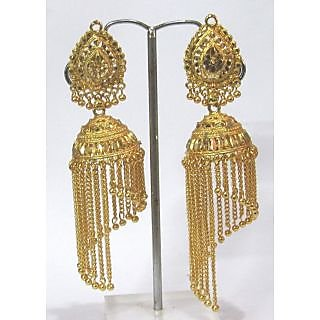 Golden Leaf Dulhan Wedding Chain Jhumka Earring