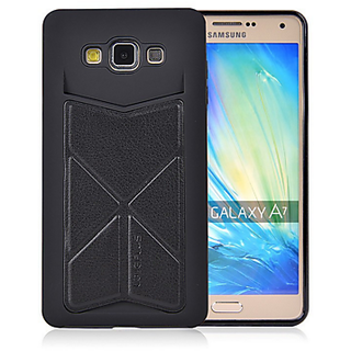 Galaxy A7 Case, Fashion Style Premium PU Leather BACK Cover Wallet Case (BLK)