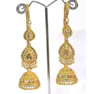 Golden Leaf Wedding Jhumka with Ear Chain Earring