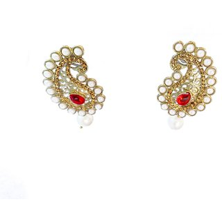 Traditional Red Color Pearl Design Beautiful Earring (MJ0089)