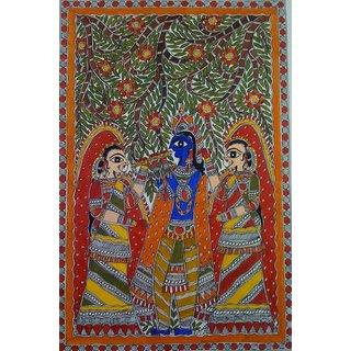 Mithila Painting of Radha Krishna Madhubani