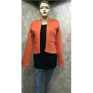 Orange Polyester Blend Blazers