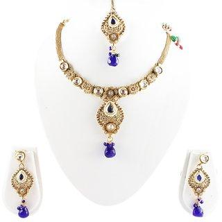 Partywear Antique Dasign Diamond Stone Pearl Necklace Set (MJ0130)