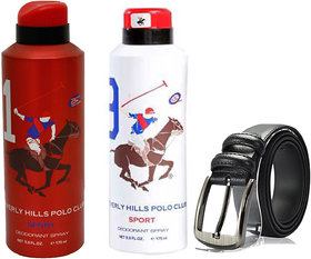 Beverly Hills Polo Club Mens Sports Deodorants (1 and 9) with Random Belt