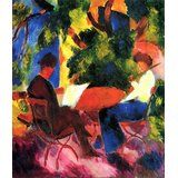 Couple At The Garden Table By Macke Printed Painting