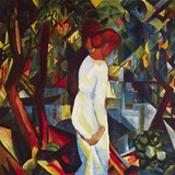 Couple In The Forest By Macke Printed Painting