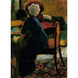 Elisabeth At The Desk By Macke Printed Painting